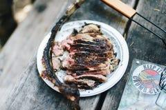 Ψημένη στη σχάρα στρατοπέδευση μπριζολών βόειου κρέατος Στοκ φωτογραφίες με δικαίωμα ελεύθερης χρήσης