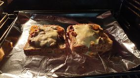 Ψημένος κομματιάστε και τυρί στοκ εικόνα