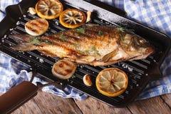 Ψημένος στη σχάρα κυπρίνος ψαριών με το λεμόνι σε μια τηγανίζοντας παν σχάρα, οριζόντια Στοκ Φωτογραφία