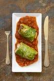 Ψημένο γεμισμένο χορτοφάγος λάχανο κραμπολάχανου Στοκ Φωτογραφία