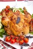ψημένο κοτόπουλο επιτραπέζιο σύνολο Στοκ εικόνες με δικαίωμα ελεύθερης χρήσης
