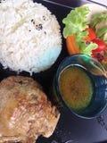 Ψημένο κοτόπουλο με το ρύζι Στοκ φωτογραφίες με δικαίωμα ελεύθερης χρήσης