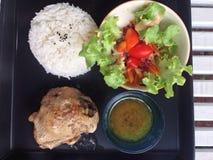 Ψημένο κοτόπουλο με το ρύζι Στοκ Φωτογραφία