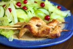 Ψημένο κοτόπουλο στο οβελίδιο με τη σαλάτα Στοκ φωτογραφία με δικαίωμα ελεύθερης χρήσης