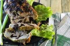 Ψημένο κρέας με τα δαμάσκηνα Στοκ Φωτογραφία