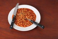 ψημένο πιάτο φασολιών στοκ φωτογραφία