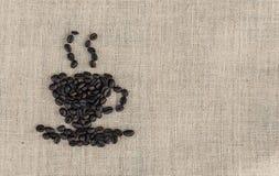 Ψημένο σημάδι φασολιών καφέ Στοκ Εικόνες