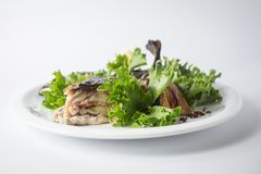 Ψημένο σκουμπρί με την πράσινη σαλάτα και λεμόνι στο άσπρο πιάτο στοκ φωτογραφίες