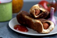 Ψημένο σκόρδο ντοματών ζύμης λουκάνικων στοκ φωτογραφίες