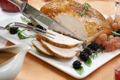 Ψημένο στήθος της Τουρκίας - τρίψιμο Rosemary-βασιλικού Στοκ εικόνα με δικαίωμα ελεύθερης χρήσης