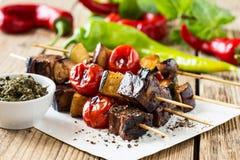 Ψημένο στη σχάρα βόειο κρέας shishkabobs Στοκ Εικόνα