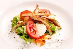 Ψημένο στη σχάρα κοτόπουλο με τις ντομάτες και την πράσινη σαλάτα στοκ φωτογραφίες