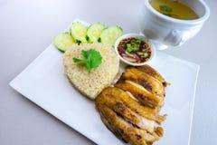 Ψημένο στη σχάρα κοτόπουλο με το ρύζι Στοκ Εικόνες