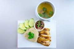 Ψημένο στη σχάρα κοτόπουλο με το ταϊλανδικό ύφος ρυζιού Στοκ φωτογραφία με δικαίωμα ελεύθερης χρήσης