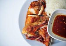 Ψημένο στη σχάρα κοτόπουλο με το ρύζι, yummy στοκ φωτογραφία με δικαίωμα ελεύθερης χρήσης