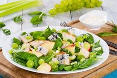 Ψημένο στη σχάρα κοτόπουλο, σπανάκι, φέτες μήλων, gorgonzola τυρί, σταφύλι Στοκ Εικόνα
