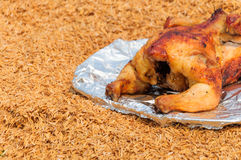 Ψημένο στη σχάρα κοτόπουλο στο πιάτο πέρα από το υπόβαθρο φλοιών Στοκ εικόνες με δικαίωμα ελεύθερης χρήσης