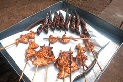 Ψημένο στη σχάρα κοτόπουλο ψαριών και ψητού στο δίσκο Στοκ Εικόνες