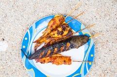 Ψημένο στη σχάρα κοτόπουλο ψαριών και ψητού Στοκ φωτογραφία με δικαίωμα ελεύθερης χρήσης