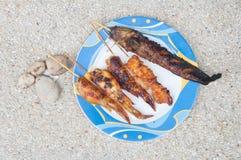 Ψημένο στη σχάρα κοτόπουλο ψαριών και ψητού Στοκ Εικόνες