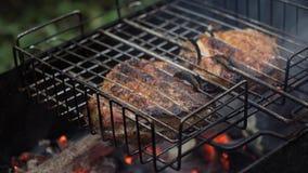 Ψημένο στη σχάρα κρέας στη φλεμένος σχάρα Στοκ φωτογραφίες με δικαίωμα ελεύθερης χρήσης