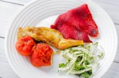Ψημένο στη σχάρα ορεκτικό λαχανικών Μελιτζάνα, ντομάτες, κρεμμύδι, χορτάρια μαύρο στενό μαλακό επάνω λευκό μαξιλαριών μικροφώνων  Στοκ Εικόνες