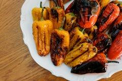 Ψημένο στη σχάρα πιάτο των πιπεριών Στοκ φωτογραφίες με δικαίωμα ελεύθερης χρήσης