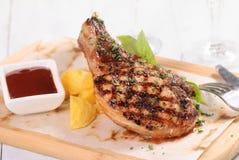 Ψημένο στη σχάρα ράφι του χοιρινού κρέατος Στοκ Εικόνες