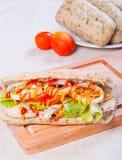 Ψημένο στη σχάρα σάντουιτς κοτόπουλου με το μαρούλι και το κρεμμύδι ντοματών Στοκ εικόνα με δικαίωμα ελεύθερης χρήσης