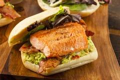Ψημένο στη σχάρα σάντουιτς σολομών με το μπέϊκον και Guacamole στοκ φωτογραφία