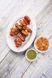 Ψημένο στη σχάρα τυρί εξοχικών σπιτιών ή επίσης γνωστός ως Paneer Tikka Kebab ή τσίλι paneer ή τσίλι paneer ή tandoori paneer στη Στοκ εικόνα με δικαίωμα ελεύθερης χρήσης