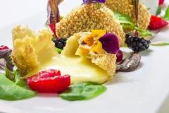 Ψημένο στη σχάρα τυρί με τη διακόσμηση στοκ φωτογραφίες