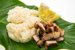 Ψημένο στη σχάρα χοιρινό κρέας και κολλώδες ρύζι στα eafs Στοκ Εικόνες
