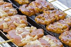 Ψημένο στη σχάρα χοιρινό κρέας με το κολλώδες ρύζι, κολλώδες ρύζι Στοκ εικόνες με δικαίωμα ελεύθερης χρήσης