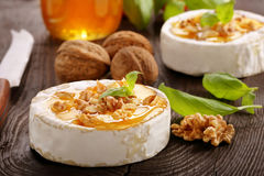 Ψημένο στη σχάρα camembert τυρί με το μέλι και τα καρύδια Στοκ Φωτογραφίες