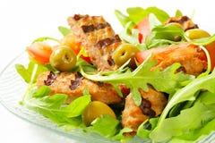 Ψημένο στη σχάρα patty με τη σαλάτα φρέσκων λαχανικών Στοκ Φωτογραφίες