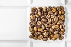 Ψημένο σχεδιασμένο arabica τετράγωνο φασολιών καφέ σε έναν άσπρο δίσκο Στοκ Εικόνες