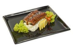 Ψημένο χέλι που μαγειρεύεται με να δειπνήσει ρυζιού και σαλάτας Στοκ εικόνα με δικαίωμα ελεύθερης χρήσης