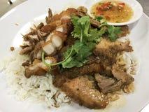 Ψημένο χοιρινό κρέας και τριζάτο χοιρινό κρέας που αναμιγνύονται με τη σάλτσα σόγιας, κορίανδρο Στοκ Εικόνες