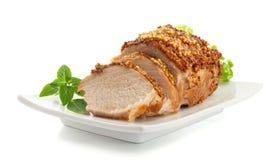 Ψημένο χοιρινό κρέας με τη γαλλική μουστάρδα στοκ εικόνα με δικαίωμα ελεύθερης χρήσης