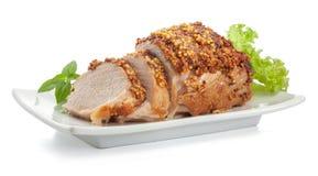 Ψημένο χοιρινό κρέας με τη γαλλική μουστάρδα στοκ φωτογραφίες