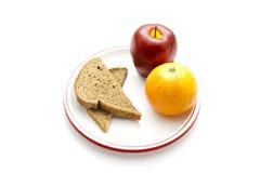 Ψημένο ψωμί φρυγανιάς με την πλαστικά Apple και Tangerine Στοκ φωτογραφίες με δικαίωμα ελεύθερης χρήσης