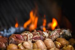 Ψημένο BBQ κρέας σχαρών στη σχάρα πυρκαγιάς Στοκ εικόνα με δικαίωμα ελεύθερης χρήσης