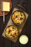 Ψημένο Casserole ζυμαρικών, μπρόκολου και ντοματών Στοκ φωτογραφία με δικαίωμα ελεύθερης χρήσης