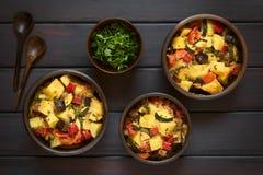 Ψημένο Casserole πατατών, κολοκυθιών, μελιτζάνας και ντοματών Στοκ Εικόνα