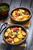 Ψημένο Casserole πατατών, κολοκυθιών, μελιτζάνας και ντοματών Στοκ Εικόνες