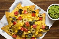 Ψημένο Nachos με το τυρί και τα λαχανικά Στοκ Εικόνες