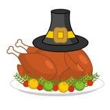 Ψητό Τουρκία για την ημέρα των ευχαριστιών και το καπέλο προσκυνητών πτηνά στο πιάτο FR διανυσματική απεικόνιση