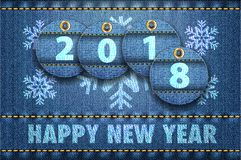 ψηφία 2016 ετών και χαιρετισμοί καλής χρονιάς στο τζιν παντελόνι πίσω διανυσματική απεικόνιση