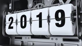 Ψηφία κτυπήματος, αριθμοί 2019 έτους διανυσματική απεικόνιση